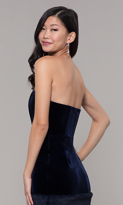 Image of short strapless navy blue velvet holiday dress. Style: AC-SD24684B Detail Image 2