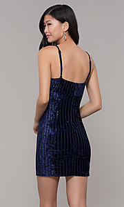 Image of short velvet midnight blue wedding-guest dress. Style: AC-DS24697T Back Image