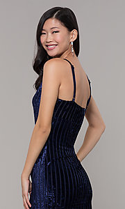 Image of short velvet midnight blue wedding-guest dress. Style: AC-DS24697T Detail Image 2
