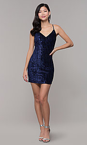 Image of short velvet midnight blue wedding-guest dress. Style: AC-DS24697T Detail Image 3