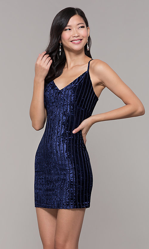 Image of short velvet midnight blue wedding-guest dress. Style: AC-DS24697T Front Image
