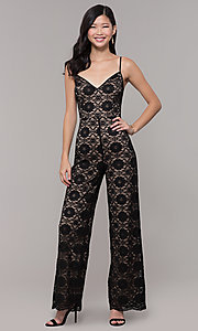 Image of lace v-neck black holiday party jumpsuit. Style: AC-NSH74417T Front Image