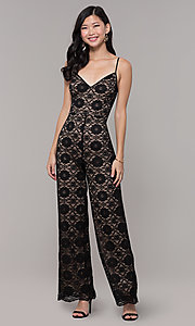 Image of lace v-neck black holiday party jumpsuit. Style: AC-NSH74417T Detail Image 3