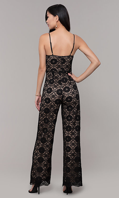 Image of lace v-neck black holiday party jumpsuit. Style: AC-NSH74417T Back Image