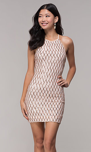 000c350e538 Short Rose Gold Sequin Homecoming Dress by PromGirl