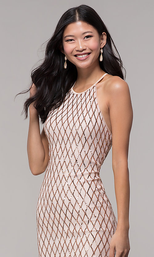Image of short rose gold sequin homecoming dress by PromGirl. Style: MCR-PL-2609 Detail Image 2