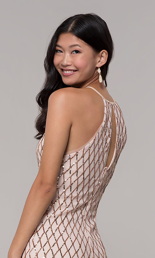 Image of short rose gold sequin homecoming dress by PromGirl. Style: MCR-PL-2609 Detail Image 3
