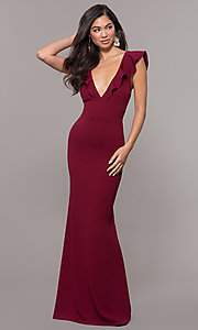 Image of ruffle-trimmed wine red v-neck prom dress. Style: JU-10982 Front Image