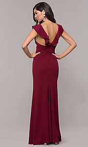Image of ruffle-trimmed wine red v-neck prom dress. Style: JU-10982 Back Image