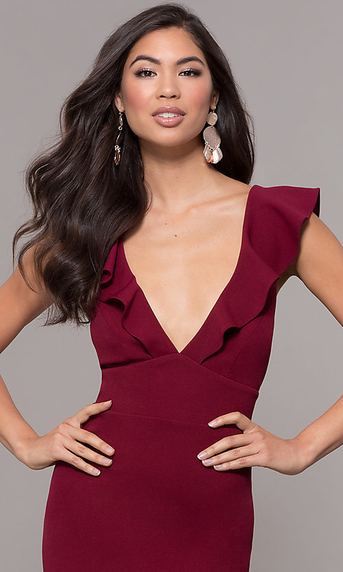 Image of ruffle-trimmed wine red v-neck prom dress. Style: JU-10982 Detail Image 1