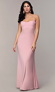 Image of long empire-waist sweetheart prom dress. Style: JU-11143 Detail Image 4