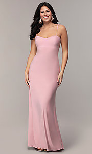 Image of long empire-waist sweetheart prom dress. Style: JU-11143 Detail Image 3