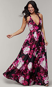 Image of long floral-print v-neck prom dress. Style: JU-11158 Front Image
