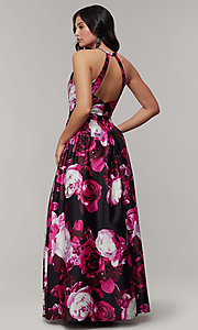 Image of long floral-print v-neck prom dress. Style: JU-11158 Back Image