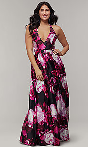 Image of long floral-print v-neck prom dress. Style: JU-11158 Detail Image 3