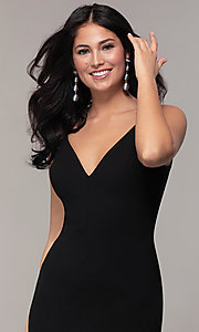Image of long black open-back v-neck formal prom dress. Style: JU-11161 Detail Image 1
