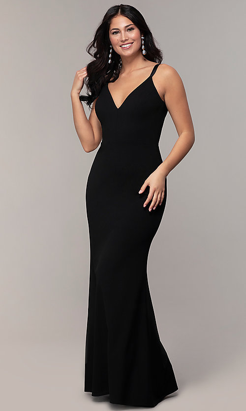 Image of long black open-back v-neck formal prom dress. Style: JU-11161 Back Image