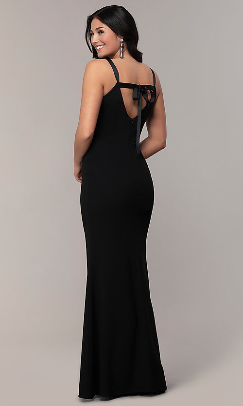 Image of long black open-back v-neck formal prom dress. Style: JU-11161 Front Image