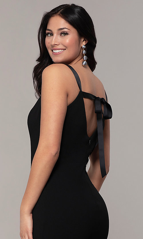 Image of long black open-back v-neck formal prom dress. Style: JU-11161 Detail Image 2