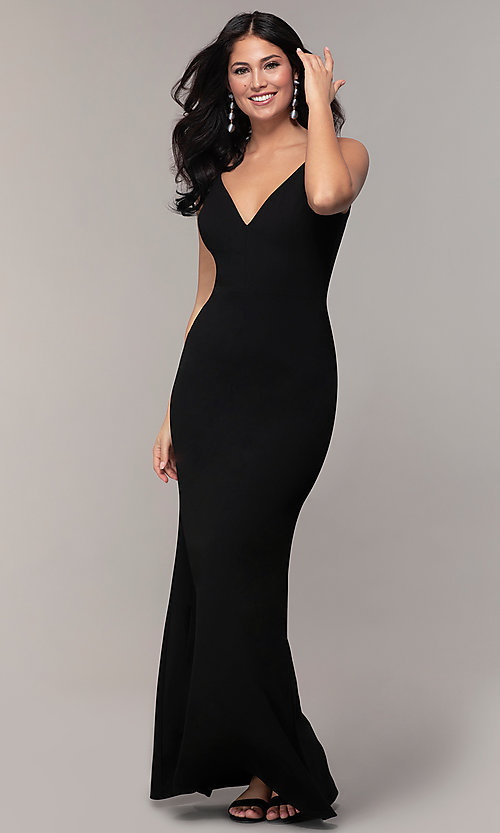 Image of long black open-back v-neck formal prom dress. Style: JU-11161 Detail Image 3