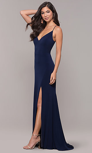 Open-Back Wide-V-Neck Long Prom Dress