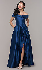 Image of long off-shoulder prom dress by PromGirl. Style: LP-PL-25768 Front Image