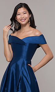Image of long off-shoulder prom dress by PromGirl. Style: LP-PL-25768 Detail Image 6