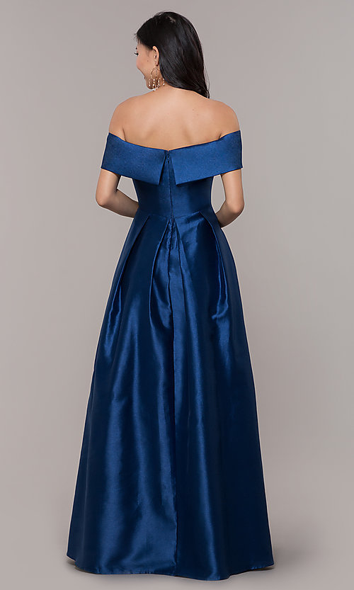 Image of long off-shoulder prom dress by PromGirl. Style: LP-PL-25768 Detail Image 5