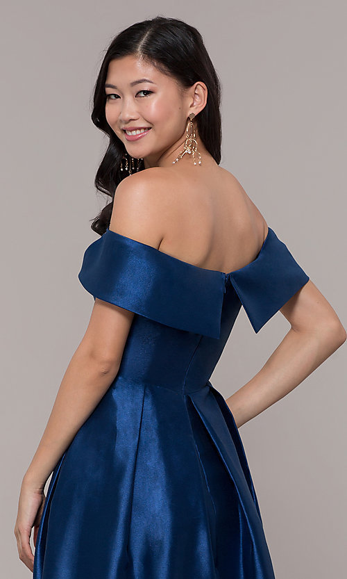 Image of long off-shoulder prom dress by PromGirl. Style: LP-PL-25768 Detail Image 7