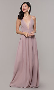 Image of low-v-neck long prom dress by PromGirl. Style: LP-PL-25332 Detail Image 4
