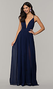 Image of low-v-neck long prom dress by PromGirl. Style: LP-PL-25332 Front Image
