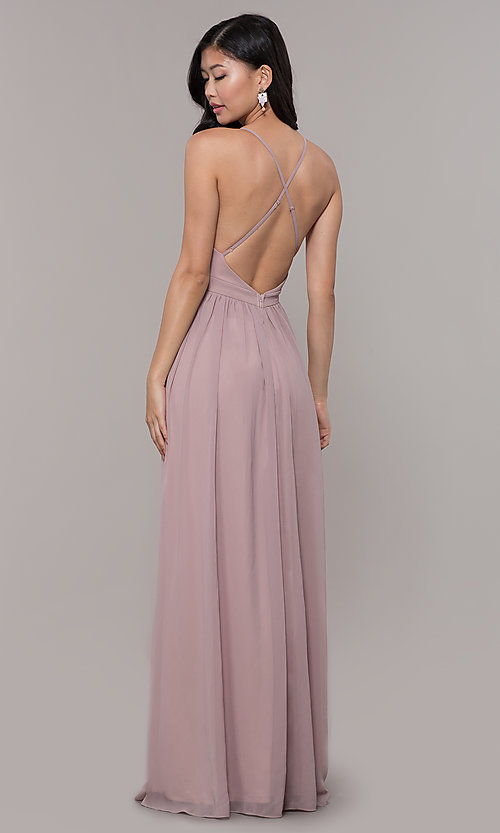 Image of low-v-neck long prom dress by PromGirl. Style: LP-PL-25332 Detail Image 5