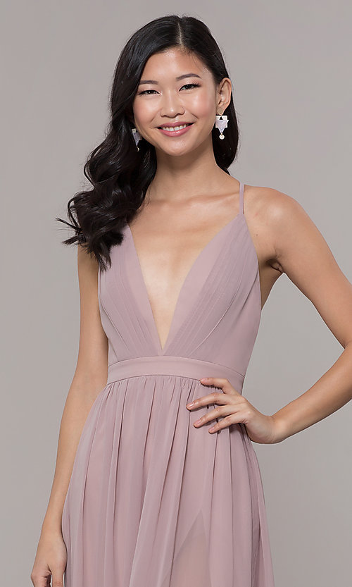 Image of low-v-neck long prom dress by PromGirl. Style: LP-PL-25332 Detail Image 6