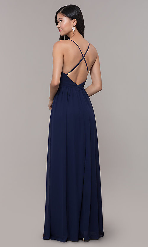 Image of low-v-neck long prom dress by PromGirl. Style: LP-PL-25332 Back Image