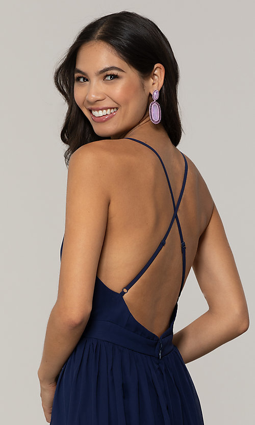 Image of low-v-neck long prom dress by PromGirl. Style: LP-PL-25332 Detail Image 2