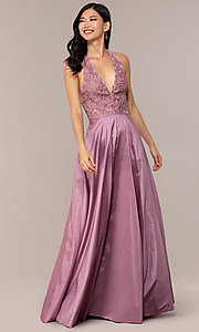 Image of long v-neck halter prom dress by PromGirl. Style: LP-PL-25876 Detail Image 4