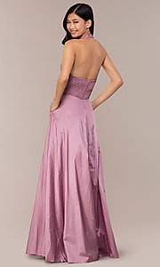 Image of long v-neck halter prom dress by PromGirl. Style: LP-PL-25876 Detail Image 5