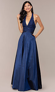 Image of long v-neck halter prom dress by PromGirl. Style: LP-PL-25876 Front Image