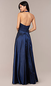 Image of long v-neck halter prom dress by PromGirl. Style: LP-PL-25876 Back Image