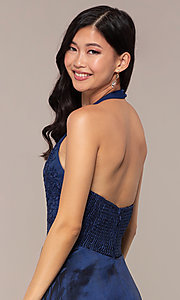 Image of long v-neck halter prom dress by PromGirl. Style: LP-PL-25876 Detail Image 2