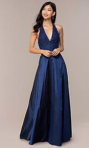 Image of long v-neck halter prom dress by PromGirl. Style: LP-PL-25876 Detail Image 3