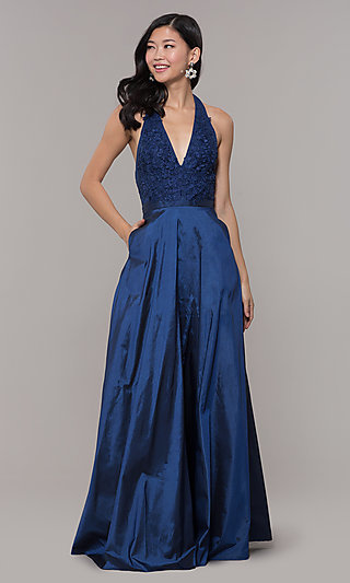 Long V-Neck Halter Prom Dress by PromGirl