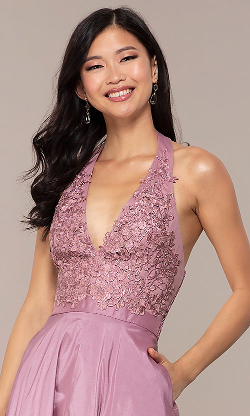 Image of long v-neck halter prom dress by PromGirl. Style: LP-PL-25876 Detail Image 6