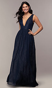 Image of long deep-v-neck prom dress by PromGirl. Style: LP-PL-25781 Detail Image 3