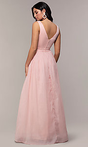 Image of long deep-v-neck prom dress by PromGirl. Style: LP-PL-25781 Detail Image 5