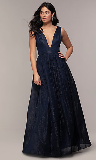 Long Deep-V-Neck Prom Dress by PromGirl