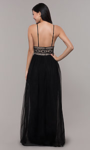 Image of long crocheted v-neck prom dress by PromGirl. Style: LP-PL-27892 Back Image
