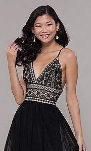 Image of long crocheted v-neck prom dress by PromGirl. Style: LP-PL-27892 Detail Image 1