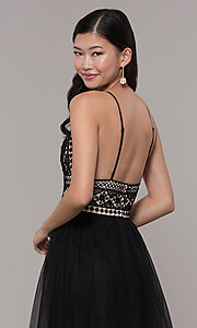 Image of long crocheted v-neck prom dress by PromGirl. Style: LP-PL-27892 Detail Image 2