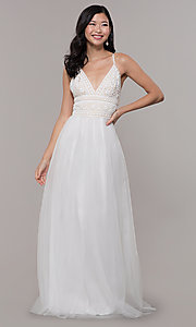 Image of long crocheted v-neck prom dress by PromGirl. Style: LP-PL-27892 Detail Image 4